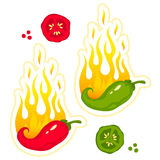 Chili peppers in fire. Vector set illustrations of a hot jalapeno and chili peppers in fire Stock Image