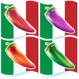Chili Peppers with Flag Royalty Free Stock Images