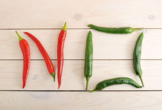 Chili peppers are in the form of a word NO Stock Image