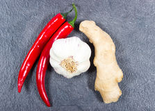 Chili peppers, garlic and ginger on a black background Royalty Free Stock Images