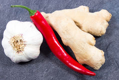 Chili peppers, garlic and ginger on a black background Royalty Free Stock Photography