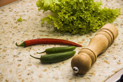 Chili peppers green and red Stock Photo
