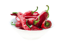 Chili peppers. Handful of chili peppers in white  ceramic  dish covered with drops isolated Royalty Free Stock Image