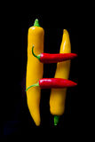 Chili peppers isolated on black background. Space yellow and red stock photos