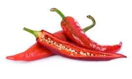 Chili peppers. Isolated on white background Royalty Free Stock Photos