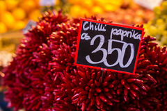 Chili peppers at the market. Chili peppers on sale at a market in Budapest, Hungary stock images