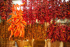 Chili peppers on market stall. Colorful red and orange chili peppers hanging on market stall in Funchal, Madeira Royalty Free Stock Images