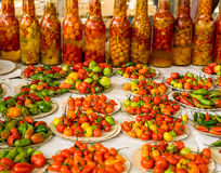 Chili Peppers at the Market. A Variety of Chili Peppers for Sale at the Market Royalty Free Stock Image