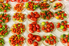 Chili Peppers at the Market. A Variety of Chili Peppers for Sale at the Market Royalty Free Stock Photos