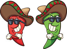 Chili peppers. Mexican red and green chili peppers. Vector clip art illustration with simple gradients. Shades and peppers on separate layers Stock Photography