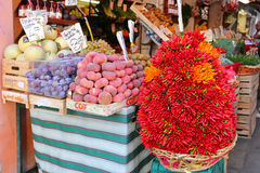 Chili peppers, other fresh fruit for sale at the Rialto Market, Venice, Italy Stock Photos