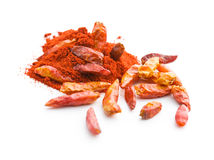 Chili peppers and powdered pepper. Royalty Free Stock Photography