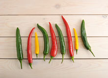 Chili peppers are in a row - yellow, green and red chili pepper Stock Photography