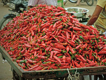 Chili peppers for sale, India Stock Image