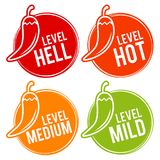Chili peppers scale mild, medium, hot and hell icons. Eps10 Vector. Food set vector illustration
