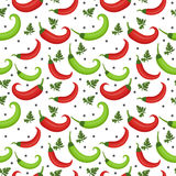 Chili peppers seamless pattern. Pepper red and green endless background, texture.. Vegetable background. Vector illustration Royalty Free Stock Photos