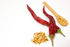Chili peppers and seeds. In wooden spoon on white background royalty free stock photos