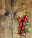Chili peppers and spice. S on a wooden background royalty free stock images