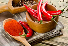 Chili peppers on in a spoon  on wooden background Stock Photography