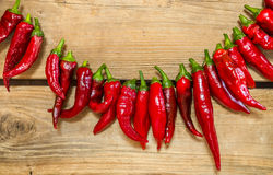 Chili peppers strung. On old wood background Stock Images