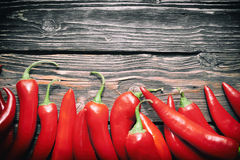 Chili peppers on a table Stock Image