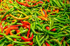 Chili peppers. Texture of red yellow and green chili peppers royalty free stock photography