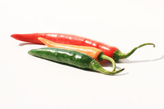Chili peppers, Thailand. Red green and yellow chili peppers from an open market, Thailand Royalty Free Stock Images