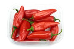 Chili peppers in a transparent plastic box Royalty Free Stock Photography