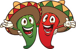 Chili peppers wearing sombreros. Stock Photography