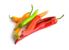 Chili Peppers on White. Colorful chili peppers on white background Royalty Free Stock Photo