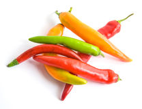 Chili Peppers on White. Colorful chili peppers on white background Stock Photography