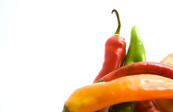 Chili Peppers on White. Colorful chili peppers on white background Royalty Free Stock Images