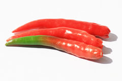 Chili peppers on white, Thailand. Red and green chili peppers on white, Thailand Stock Images