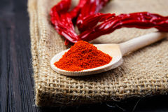 Chili peppers on a wooden spoon Stock Photography
