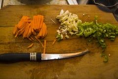 Chili pieprze, cebule i marchewka cutted, Fotografia Royalty Free