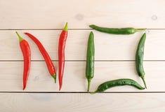 Chili pieprze są w postaci słowa ŻADNY Obraz Stock