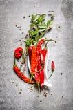 Chili pieprze z ziele Na kamiennym tle Fotografia Stock