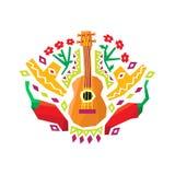 Chili pieprzu, gitary I sombrero Stylizowany Kolorowy wzór, ilustracji