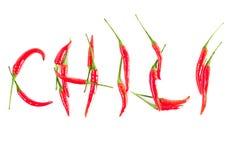 chili pieprzy czerwonego słowo Fotografia Stock
