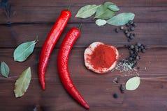 Chili pikantność na ciemnym drewnie i pieprze Fotografia Stock