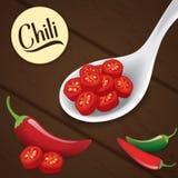 Chili plasterki na łyżce Fotografia Royalty Free