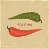 Chili poster. Red and green chilies on grunge background Stock Photography
