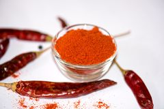 Chili Powder. In Bowl isolated royalty free stock photos