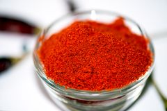 Chili Powder. In Bowl isolated stock images