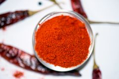 Chili Powder. In Bowl isolated Stock Photos
