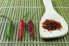 Chili powder and chili step Stock Photos