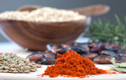 Chili powder and lentil Royalty Free Stock Photo