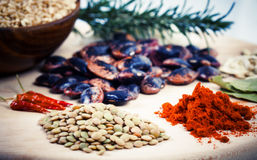 Chili powder and lentil Stock Photos