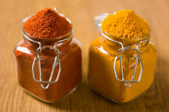 Chili powder pepper and turmeric Stock Photography