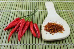 Chili powder and red paprika Royalty Free Stock Image